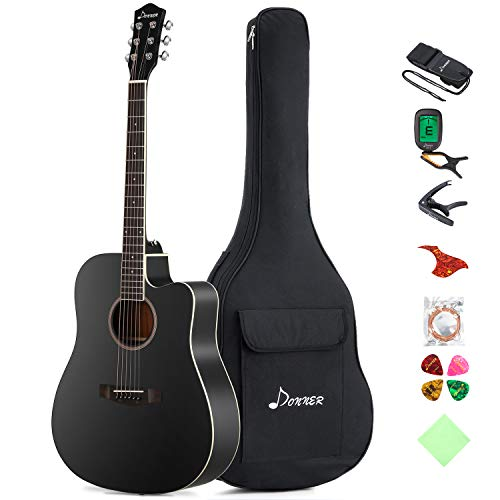 Donner DAG-1CB Black Beginner Acoustic Guitar Full Size, 41