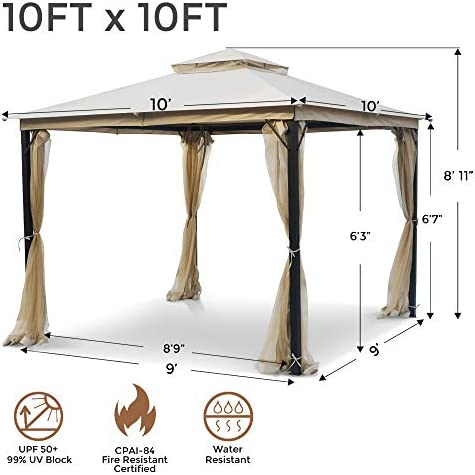AsterOutdoor 10×10 Outdoor Gazebo for Patios Canopy for Shade and Rain with Mosquito Netting, Soft Top Metal Frame Gazebo for Lawn, Backyard and Deck, 99 UV Rays Block, CPAI-84 Certified, Beige