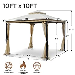 Garden and Outdoor AsterOutdoor 10×10 Outdoor Gazebo for Patios Canopy for Shade and Rain with Mosquito Netting, Soft Top Metal Frame… pergolas