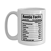Gifts for Aunts from nephew niece Aunties Nutritional Facts Funny Novelty Office Work Coffee Mug Best Birthday Christmas Mother's Day Aunt Gift
