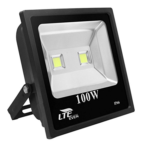 LTE 100W Super Bright LED Flood Lights Outdoor,Daylight White Security Light,10500 Lumen,250W HPS Bulb Equivalent,6000K, IP66 Waterproof Landscape Wall Light
