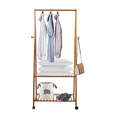 Dporticus Bamboo Garment Clothing Rack with Wheels and Hooks Entryway 2 –Tier Coat Shoe Organizer Storage Shelving Unit 27.5L x 15.7W x 63.4H - Our coat stand made 100% natural bamboo material, eco-friendly and sturdy, elegant construction and finish. Features with 2 tier storage shelves and 4 side hooks, simple and functional design works well for your coats, jackets, handbags, purses, scarves and shoes. This coat shoe rack comes with 4 wheels allows move around easily, sleek surface for easy maintaining, just wipe it with damp cloth. - hall-trees, entryway-furniture-decor, entryway-laundry-room - 41eBs%2BUahYL. SS400  -