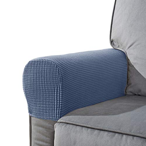 CHUN YI Set of 2 Stretch Polyester Sofa Armchair Armrest Covers Slipcovers Furniture Protector Spandex Fabric Jacquard Anti-Stain Washable Couch Arm Cover Slipcover (Armrest, Denim Blue)