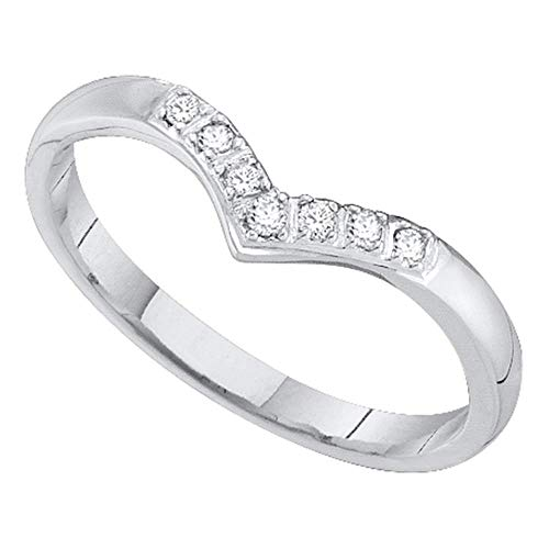 Dazzlingrock Collection 14kt White Gold Womens Round Diamond Chevron Band Ring 1/12 Cttw
