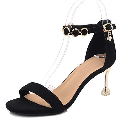 Chaton Hauts Talon Talons Cm Ouvert noir Du Dames Femmes Cheville 8 Hauteur Chaussures Sandales Ruiren Talon Pour qw5YHn4
