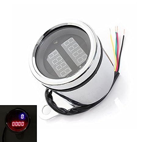 GOZAR Universal 12V Moto LED Tacómetro Digital Y Medidor De Reloj: Amazon.es: Hogar