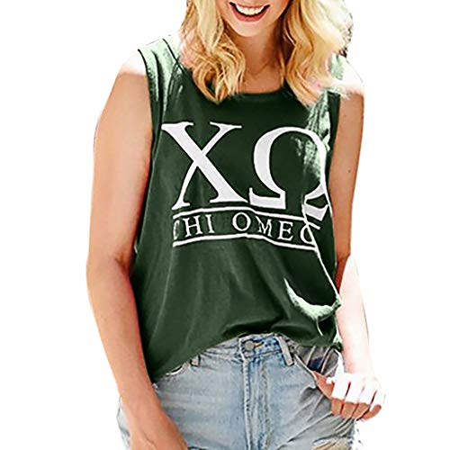 NUWFOR Fashion Womens O-Neck Letter Printing Sleeveless Vest Blouse Loose Shirt Tops(Green,XL US - Lace Spg