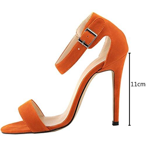 35 wealsex Orange Classique Escarpins Talons Aiguilles Haute Ouvert Bride Boucles Femme Sandales Bout Suédé Cheville Sexy 42 wgwra6qS