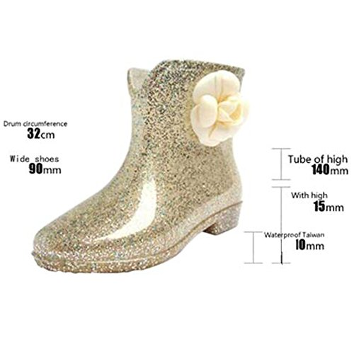 Haodasi Womens Non-slip Rainboots Waterproof Rubber Rain Shoes Princess Ankle Boots Rain Boots Water Shoes Winter Boots Gold1 u8imo