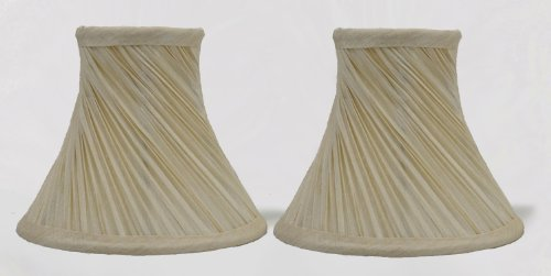 Urbanest 1101003a Set of 2 Swirl Pleated Chandelier Lamp Shades 6-inch, Bell, Clip On, Cream