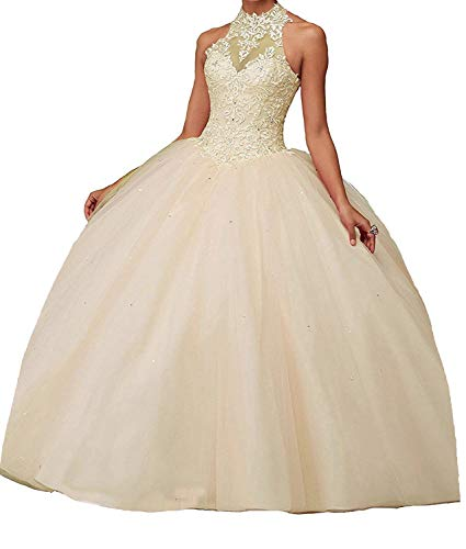 Basque Waistline - CharmingBridal High Neck Lace Prom Pageant Ball Gown Quinceanera Dresses Champagne