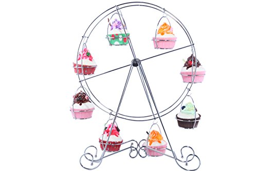 Ferris Wheel Cupcake Dessert Stand Carrier Holder - Steel Wire Frame - for Circus Theme Parties, Birthdays, Weddings, More - Holds 8 Cupcakes - 17 Inches