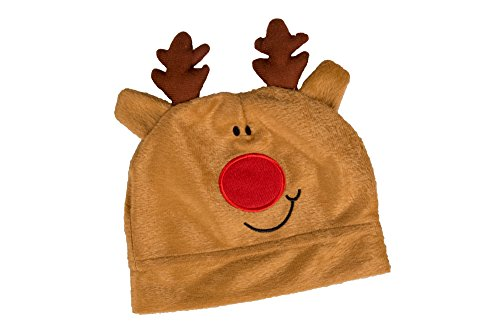 Forum Green Beanie (Novelty Cute Brown Christmas Reindeer Hat by Clever Creations | Small Kid Size Christmas Hat)