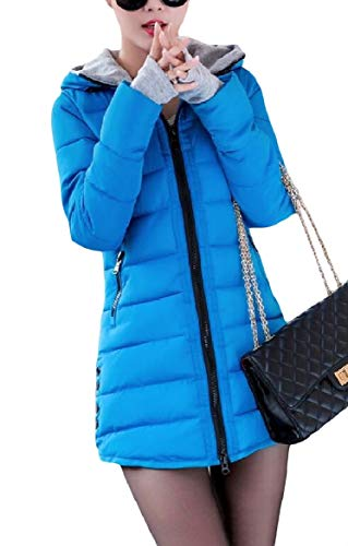 Howme-Women Zip Pocket Fitted Warm Solid Hood Mid-Long Down Coat Pattern5