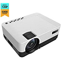 "720P 5000 Lumen Projector, 200 ""HiFi Speaker Video Projector, 2 HDMI Ports, Compact Design for iOS / Android TV Stick…"