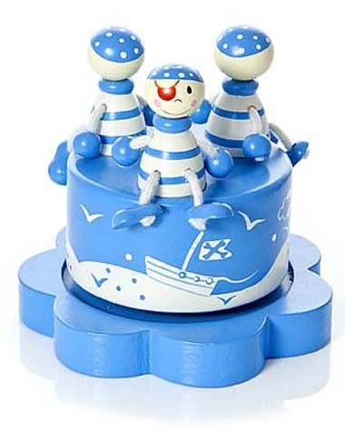 Mousehouse Gifts Music Box Baby Boy Gift - Cute Blue Pirate Music Box Row Row Row Your Boat Music MH-100124 Pirates