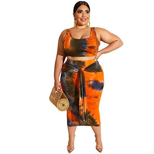 Nigols Tie Dye 2 Piece Bodycon Dress Print Boho Plus Size Midi Dress Sexy Skirts Set - Tie Spandex Tie Dye