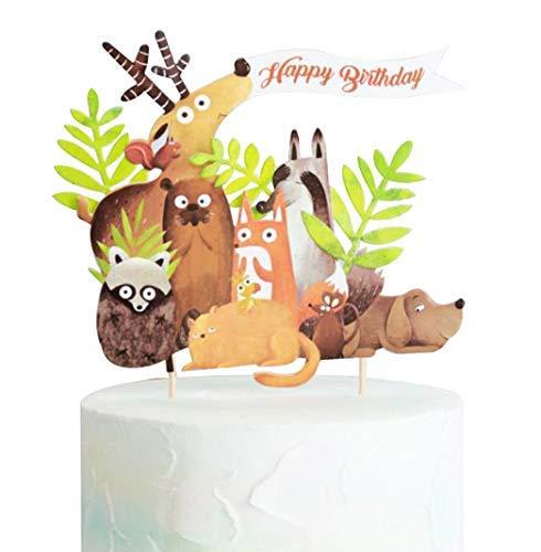 Adorno para tarta de cumpleaños, diseño de gato y zorro ...