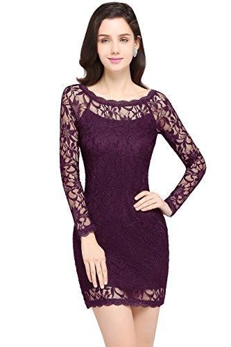 Babyonlinedress Retro Sleeved Full Lace Mother of bridal dress,Purple,2