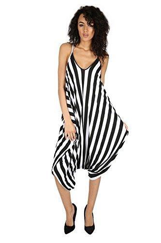 Camel Zebra (Oops Outlet Women's Thin Strap Lagenlook Romper Baggy Harem Jumpsuit Playsuit S/M (US 4/6) Zebra)