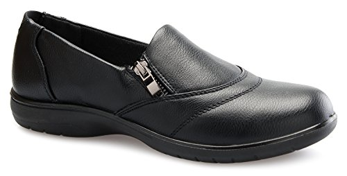 OLIVIA K Women's Relaxed Fit Easy Slip On Mary Jane Zipper Velcro Buckle Closure Padded Collar Resistant Office Work School Uniform Daily Life Flatform Shoes
