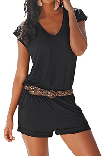Fixmatti Women Solid Cotton V Neck Sport Running Shorts One Piece Romper Pant Black (Cotton Solid V-neck Short)
