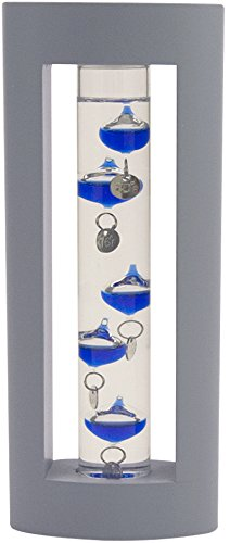 Global Village Glass Galileo Thermometer Mini Grey Wood 7''h