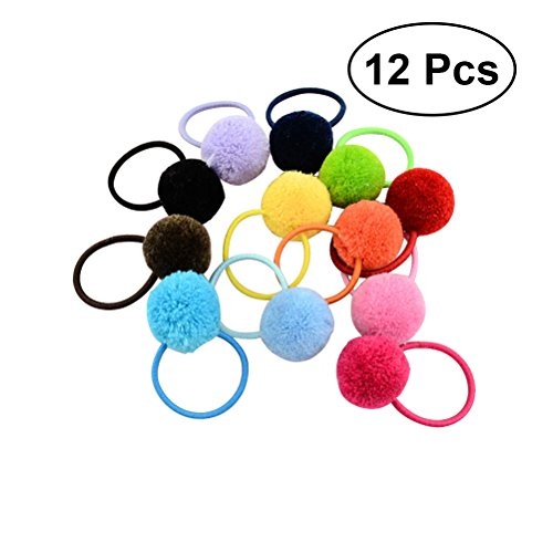 FRCOLOR Fur Ball Elastic Hair Ties Pompom Hair Band Hair Accessories for Baby Girls Pack of 12 (Mixed Color)