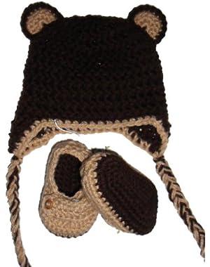 Handmade Bear Beanie & Loafers Set in Tan & Brown