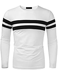 Men's Round Neck Color Block Long Sleeve Stretchy Slim T-Shirt Top