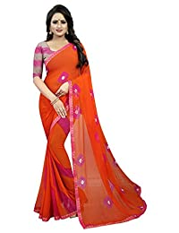 CRAFTSTRIBE Indian Traditional Faux Chiffon Saree Bollywood Printed Dress Party Wear & Wedding Sari Clothing for Women