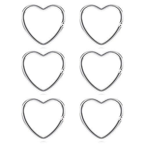 (vcmart Daith Rook Snug Tragus Piercing Earrings Stainless Steel 20G Heart-Shaped Ear Cartilage Ring Body Jewelry 3/8in(10mm))