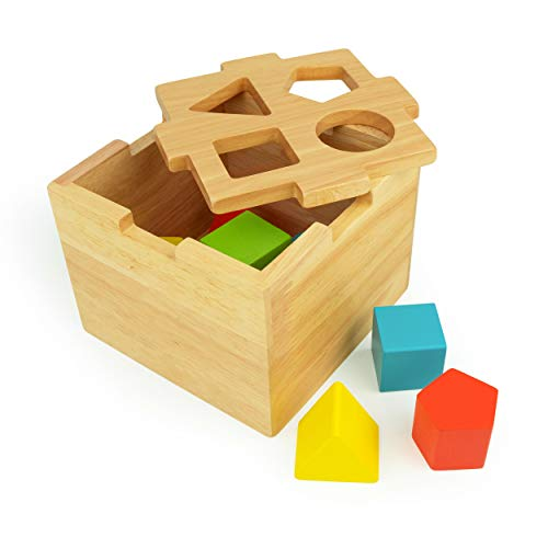 Bimi Boo Shape Sorter - Wooden Toy for Kids Age 2 - Classic Sorting Cube with Stacking Blocks for Toddlers - Premium Toys for Boys and Girls ( 8 Pcs, 4 Geometric Shapes and Colors )