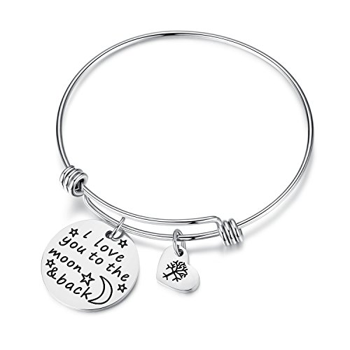 Women Girls Jewelry I Love You to the Moon and Back Bracelet with Heart Tree of Life, Anniversary Christmas Gifts for Wife, Girlfriend, Sister, Mom, Mother, Valentine's Day Gift (moon back-silver)