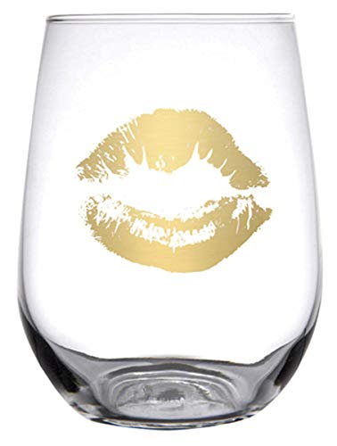 Giants 17 Ounce Glass - Gold Kiss Stemless Wine Glass with Gift Box, 17 Ounce