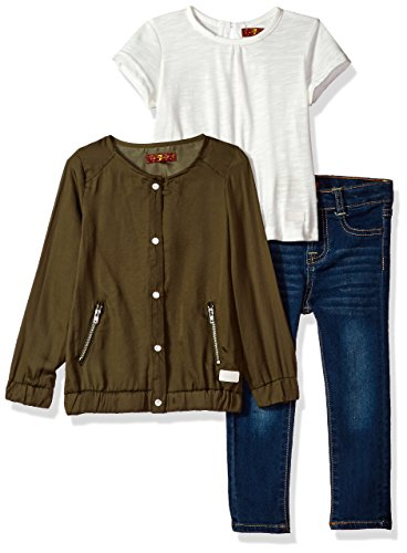 7 for all mankind Toddler Girls' Jacket, Knit Top and Pant Set (More Styles Available), G3282-Agavegreen, (7 For All Mankind Tops)
