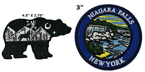 Bear and Niagara Falls National Park Series 2-Pack Embroidered Patch Iron-on Sew-on Explore Nature Outdoor Adventure Explorer Souvenir Travel Vacation Emblem -