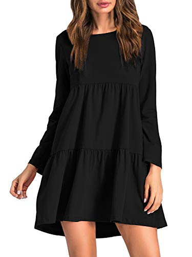 (ZJCT Womens Long Sleeve Loose Dress Round Neck Pleated Swing Casual Dresses Black XL)