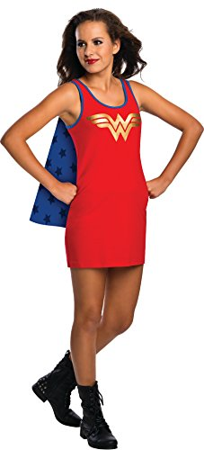 [Rubie's DC Comics Justice League Superhero Style Teen Dress with Cape Wonder Woman, Red, Small] (Womens Tank Dress Wonder Woman Costumes)