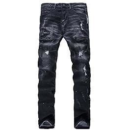 Men's Biker Slim Fit Skinny Distressed Vintage Denim Jeans