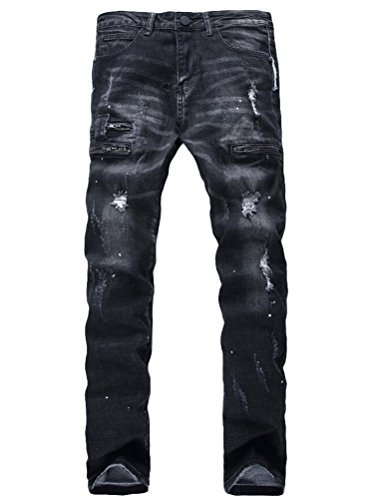 Lavnis Men's Biker Moto Slim Fit Skinny Distressed Vintage Runway Denim Jeans Black 31 ()