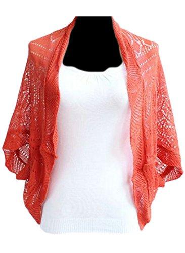 Bigbarry Women's Batwing Sleeve Knitted Hollow Loose Kimono Cardigan Orange One-Size
