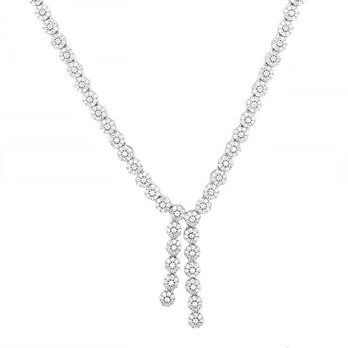 Even Jewels, EV9-9035 Lariat Flower Necklace in Sterling Silver 17'' (Silver) by Evan Jewels