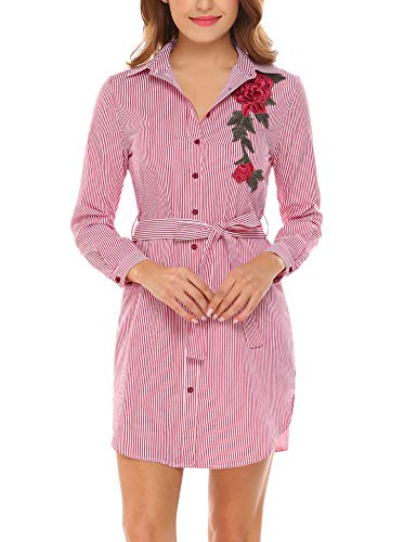 Hersife Women' V Neck Button Down Striped Shirt Dress Embroidery Wine Red S -