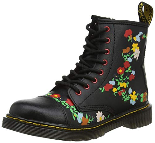 Dr. Martens Kid's Collection Girl's 1460 Pooch Flower (Little Kid/Big Kid) Black Multi T Lamper 12 M UK -