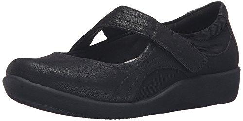 CLARKS Women's Sillian Bella Mary Jane Flat,Black Synthetic Nubuck,12 W US ()