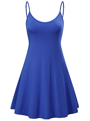 MSBASIC Beach Dress A-line Cute Junior Graduation Mini Dress (Blue,L)