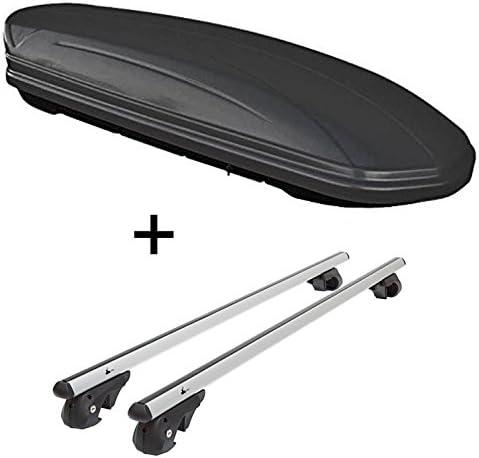 Skibox VDPMAA460 460Ltr schwarz matt abschließbar + Alu Relingträger VDP004XL kompatibel mit Renault Koleos 2008-2016