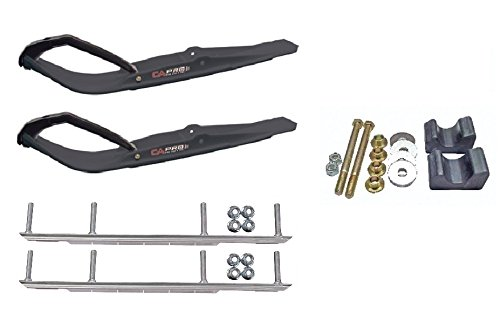 C&A Pro Black Razor Snowmobile Skis w/ 9'' Shaper Bars Complete Kit Arctic Cat 2009 and Previous by Powersports Bundle