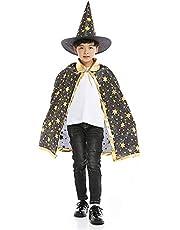 بالطو كيب للهالووين للاطفال، عباءة الساحر للهالووين مع قبعة للاطفال، اكسسوارات الهالوين (اسود)